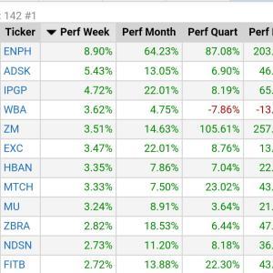 NASDAQの安定上昇株探し★ENPH、CADのオートデスク強し★大型株の週間上昇率★Finvizサイト★2020/10/20★時価総額100億$以上