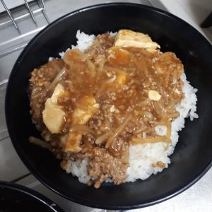 麻婆豆腐を丼にしました。