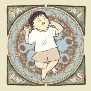 赤ちゃんを描いてたらいつの間にかミュシャ風に…