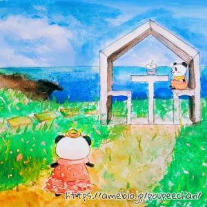 【お絵描き動画】熱海アカオハーブ&ローズガーデン×お買いものパンダの絵を描いてみた!