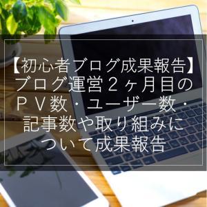 【初心者ブログ成果報告】ブログ運営2ヶ月目のPV数・ユーザー数・記事数や取り組みについて成果報告