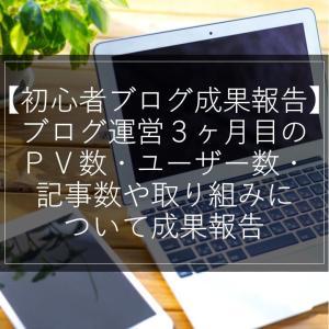 【初心者ブログ成果報告】ブログ運営3ヶ月目のPV数・ユーザー数・記事数や取り組みについて成果報告