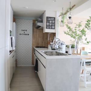 【DIY】キッチンパネルに壁紙を貼りました♪