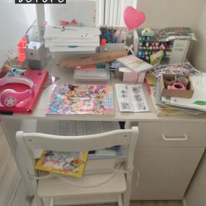 【小3娘部屋】散乱した机の上を整理したよ~♪