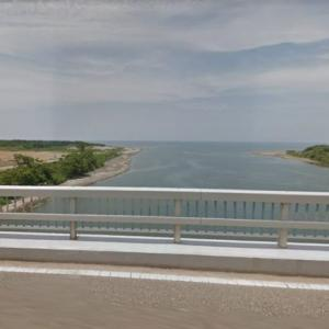 新潟県長岡市寺泊野積 信濃川の河口付近の砂浜に堆積する大きな流木たち