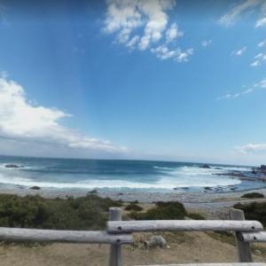 青森県下北郡東通村尻屋八峠 尻屋灯台近くの弓なりの浜にちらばる流木