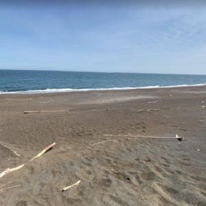 北海道北見市常呂町栄浦 サロマ湖第2湖口付近に流れ着いた大小の流木