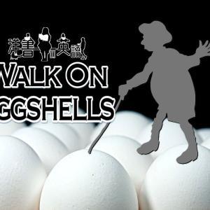 洋書に出てくる英語表現0184:walk on eggshells【おすすめ英語フレーズ編164】