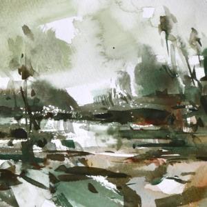 単純を目指した水彩画(池の畔)