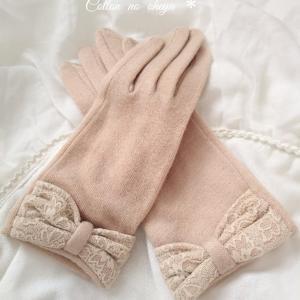 *レースのリボンがかわいい手袋*