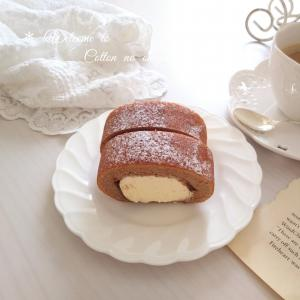 *チョコバナナ味ロールケーキでおやつタイム*
