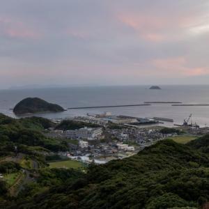 牛深遠見山桜木展望所の夕陽