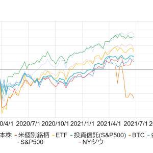 【2021年6月3週】投資資産の運用損益率を公開します《米国株・日本株・米国ETF・投資信託・BTC》