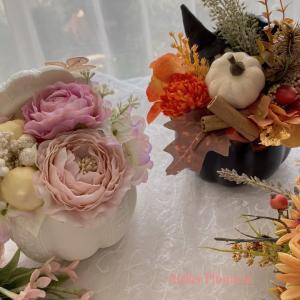 【ハロウィン期間限定レッスン】フタ付きパンプキンのコロンとキュートなハロウィンアレンジメント