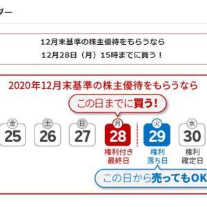 12月の株式権利取りは28日まで