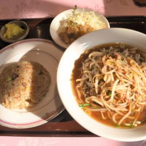 岡山市北区中山下のモヤシ蕎麦定食(又来軒)