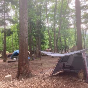 雨の中の露天風呂とキャンプも良いものでした in とことん山キャンプ場