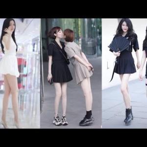 Tik tok 通りで面白い中国美少女 P.1 – 中国のウォーキングストリートで美しい少女