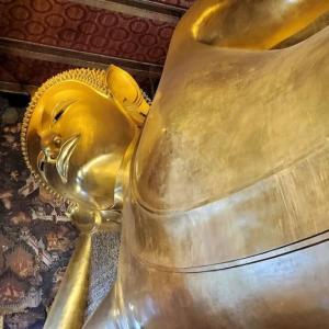 黄金の巨大な寝釈迦像の悟りを開いた涅槃姿が見られるワット・ポー