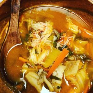 蟹入りのチゲスープとか作ったよ❤️