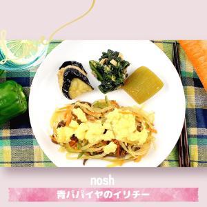 【nosh(ナッシュ)の口コミ】青パパイヤのイリチー弁当を実食【野菜たっぷり】