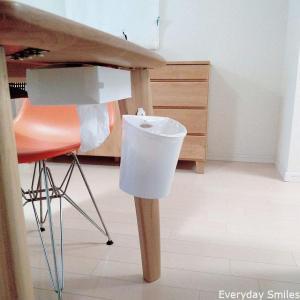 100均セリア:リビングのゴミ箱をテーブル脚につけて浮かせる方法・ルンバブル