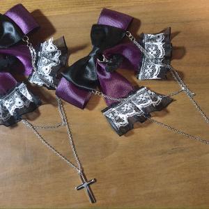 ご購入いただきありがとうございました(*^▽^*)ゴスロリ レース十字架蝙蝠リボンは本日発送です♪