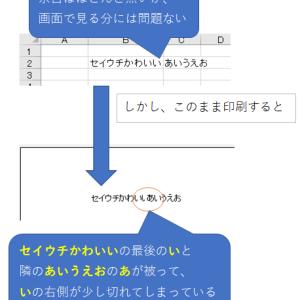 エクセルで表を印刷するとき文字が切れる