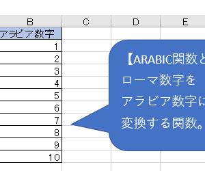 ARABIC関数 – ローマ数字をアラビア数字に変換(IV→4、X→10など)