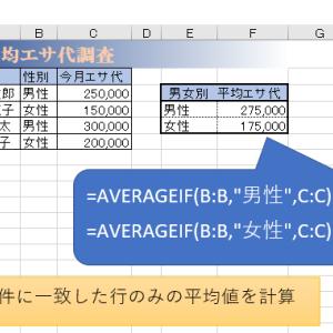 AVERAGEIF – 条件に合う行のみの平均値をとる