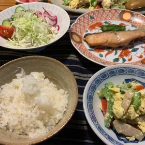 【秋鮭】【ゴーヤチャンプルー】【庭のゴーヤ】