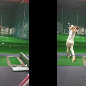 【ゴルフ練習記録】「オーイ!とんぼ」二子女(にこめ)プロと一緒?ドライバーをしっかり振る練習