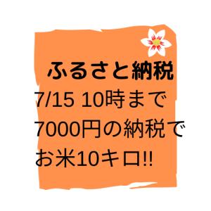7月15日10時まで!!7000円の納税で10キロのお米が返礼品のお得なふるさと納税!!