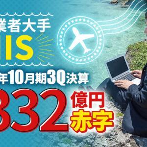旅行業者のエイチ・アイ・エス(HIS)、2021年10月期3Q決算 純利益は-332.17億円で減収減益