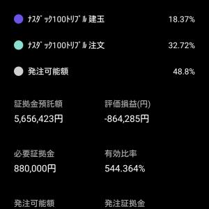 暴落でも買い向かう!TQQQ自動売買!! 9/21は¥10,989の利益 、9/22オープン状況(+31,843円 22:40現在)