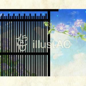 背景・朝顔と夏の空:フリーイラスト素材