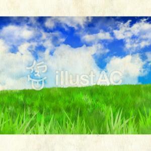 草原と大きな雲:フリーイラスト素材