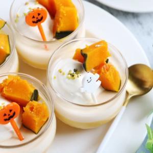 ハロウィンレシピ♡かぼちゃとミルクの二層プリン♪