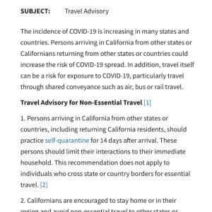 カリフォルニア州に発令。