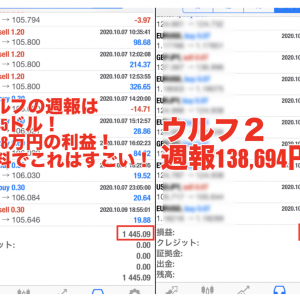 【無料版ウルフ&ウルフ2 2020年10 月1週目の成績】