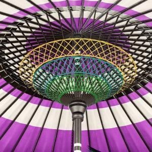 紫の番傘『紫漆塗番傘』はちょっと落ち着いた色でどんな服に合わせても可愛い