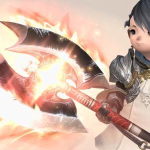 戦士のレジスタンスウェポン(RW)第四形態(第五段階)重厚な光る炎の斧『ジャッジオーダー・ラブリュスRE』