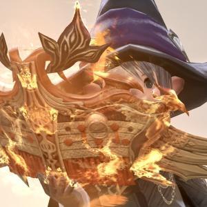 朱雀の炎と羽根が舞い散る召喚士の光る魔道書『朱雀経典【輝】』