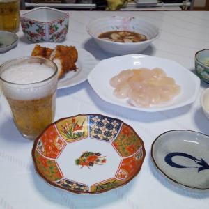 今日の夕食!ビールに生ガキ・東北応援したいよね