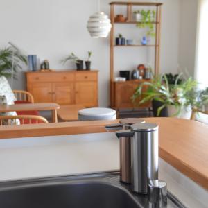 水回りのキレイの持続に役立ったもの◇オートソープディスペンサーとキッチンからの眺め