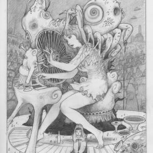 夢王たちの宴第23回■異世界フォルゴダシティの移動宮殿フォトンの前で生物楽器ビブラフォンの競技会が開催。異世界の旅人、ジェイは、演奏を始めるが、声がその楽器から。