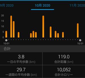 10月総括と11月目標。10月走行距離は計算間違えだった(´;ω;`)
