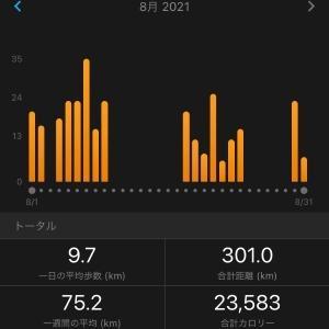 8月総括&9月目標 初めての月間300Km!!