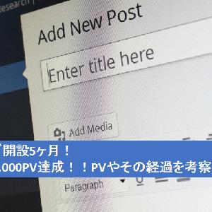 ブログ開設5ヶ月!!月間3,000PV達成!PVやその経過を考察します!!