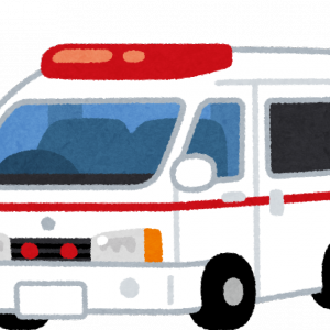 救急車、消防車、パトカーが来ていました